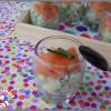 Verrines apéritives saumon fumé, concombre et pomme