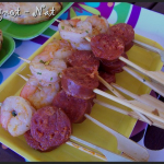 Brochettes apéritives crevettes et chorizo