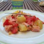 Salade de pommes de terre, tomates et cervelas