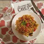 pâtes sans gluten au chorizo, courgettes et tomates cerises