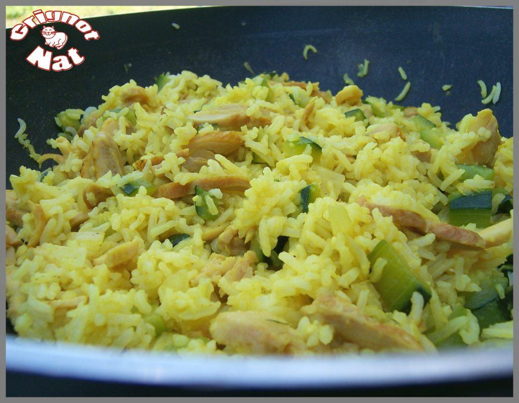 riz curcuma poulet courgette