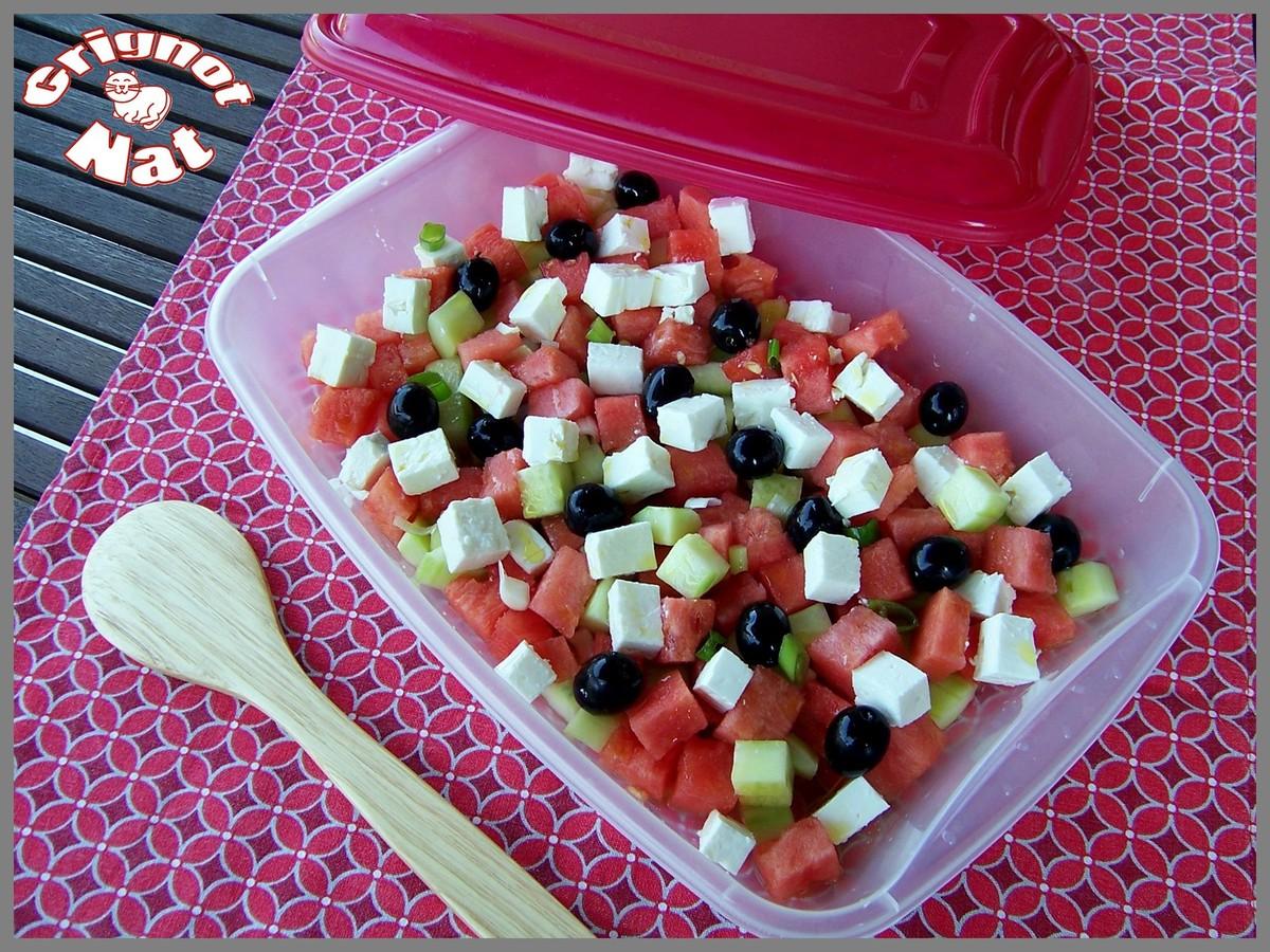Salade past que feta et concombre grignot nat - Salade de pasteque ...