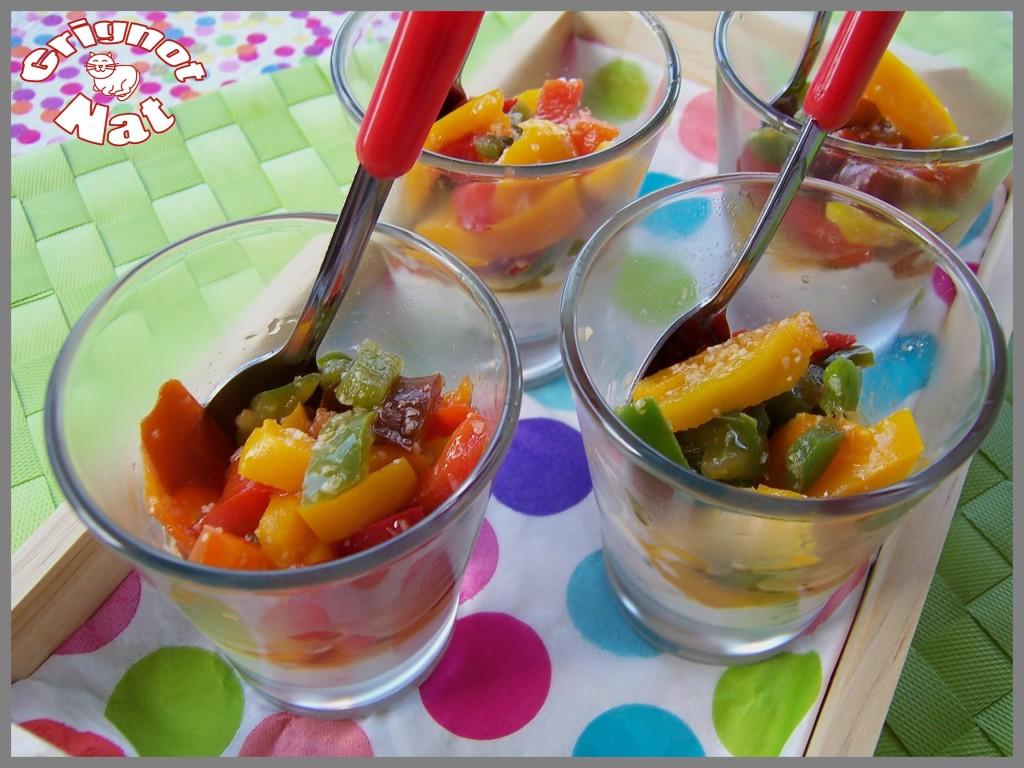 verrine poivrons, chèvre frais