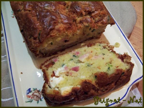 Cake courgette lardons et feta