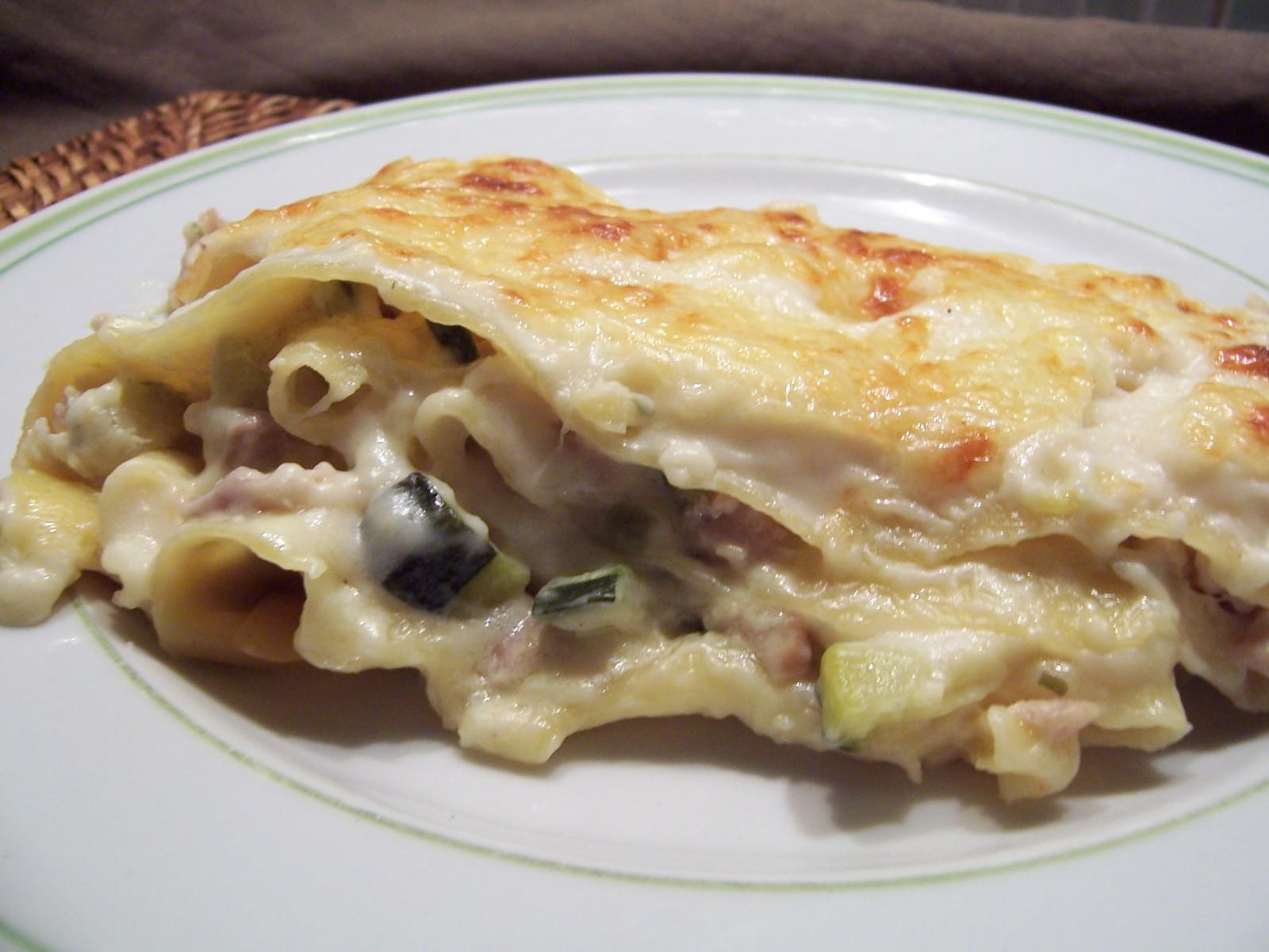 Lasagnes poulet, courgettes et boursin