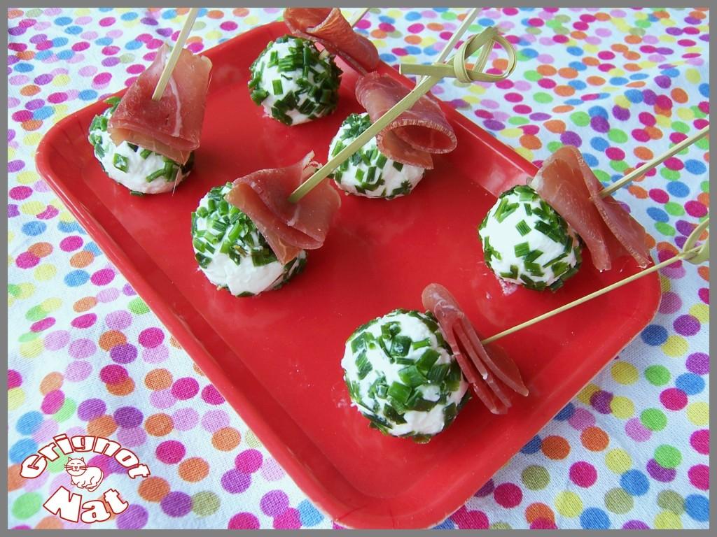 brochettes apéro chèvre - jambon