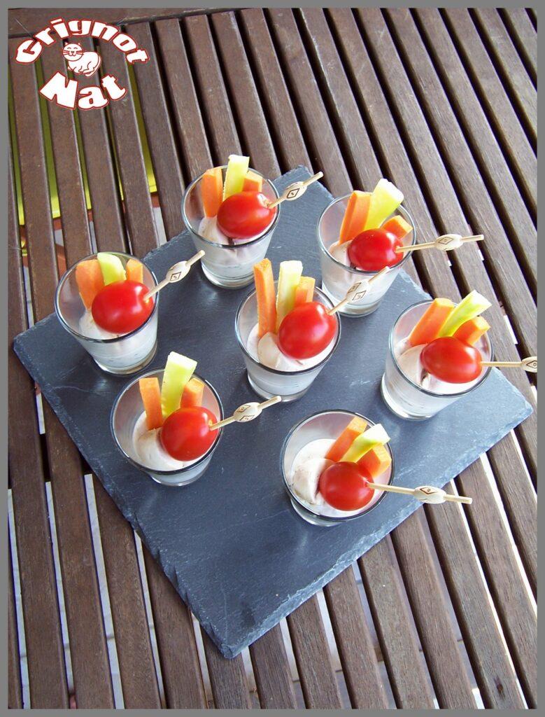 Verrines de crudités sauce yaourt